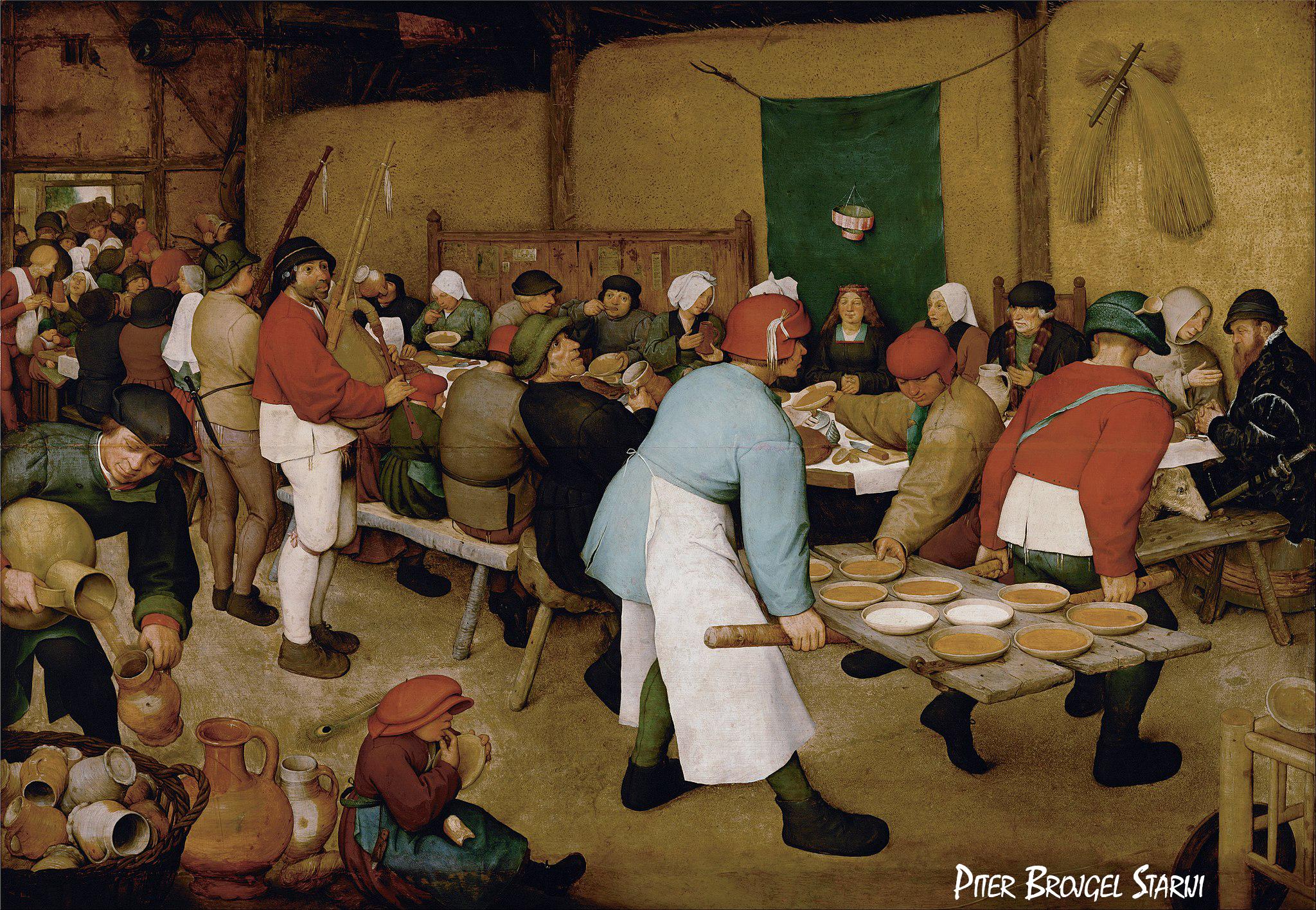 Trpeza 1568. godine - Piter Brojgel Stariji, ,,Seoska svadbaˮ